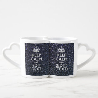 Keep Calm and Your Text on Midnight Glitter Print Lovers Mugs