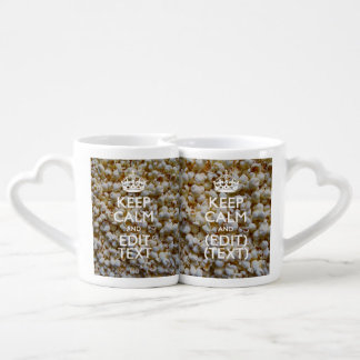 KEEP CALM AND Your Text on Popcorn Coffee Mug Set
