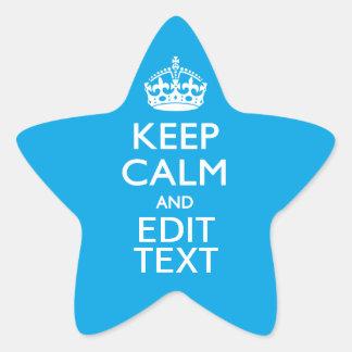 Keep Calm And Your Text on Sky Blue Decor Star Sticker