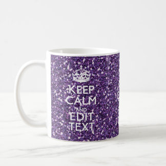 Keep Calm and Your Text on Stylish Purple Coffee Mug