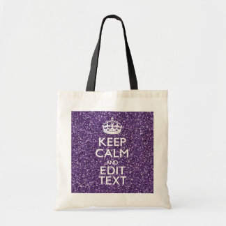 Keep Calm and Your Text on Stylish Purple Tote Bag