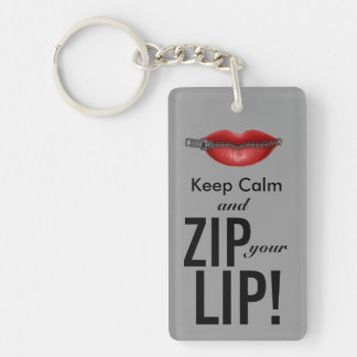 keep calm and zip your lip funny parody keychain