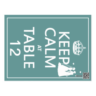 Keep Calm at Table x(table numbers) Postcards