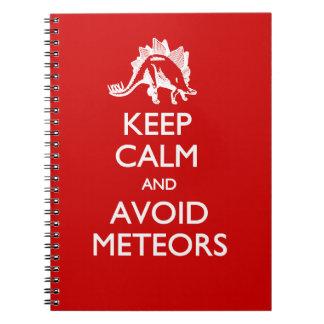 Keep Calm Avoid Meteors Spiral Notebook