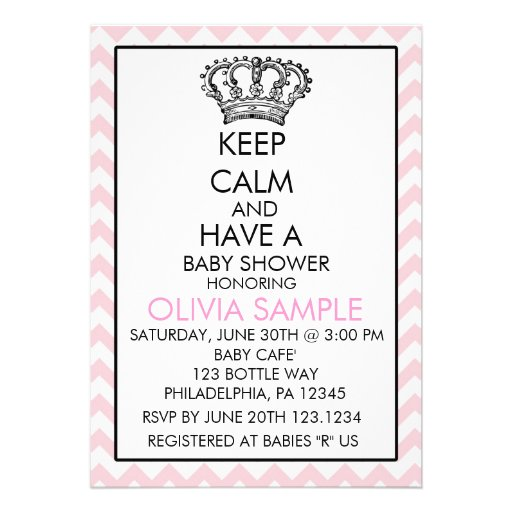 Keep Calm Baby Shower Invitation