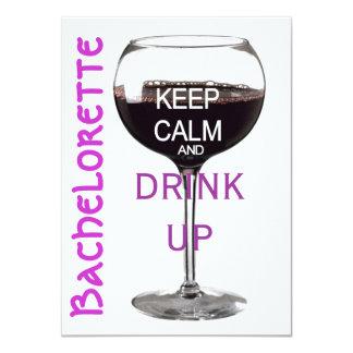 Keep Calm Bachelorette party drinks 11 Cm X 16 Cm Invitation Card