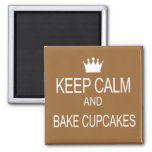 """KEEP CALM & BAKE CUPCAKES"" Humor Saying 2 Inch Square Magnet"