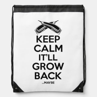 Keep Calm: Barber Shop Humor Drawstring Backpack