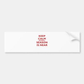 Keep Calm Baseball Season is Near Bumper Sticker