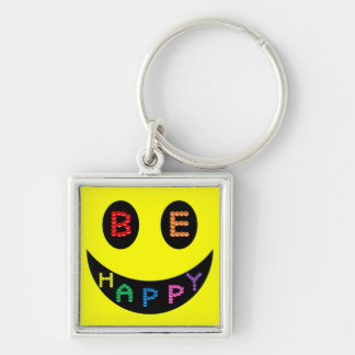 Keep Calm Be Happy Destiny Silver-Colored Square Keychain