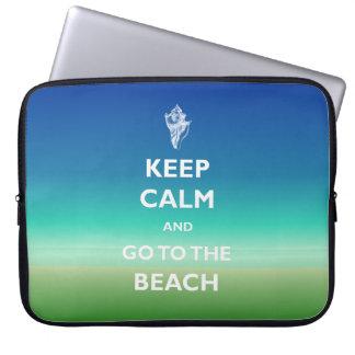 Keep Calm Beach Blue Green Seascape Laptop Sleeve