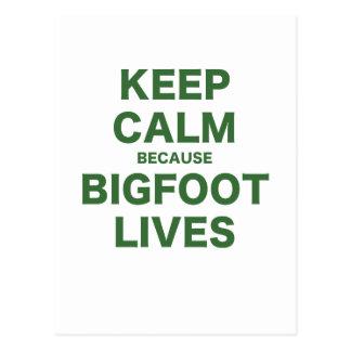 Keep Calm Because Bigfoot Lives Postcard