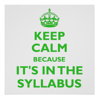 Keep Calm Because It's In The Syllabus (green) Poster