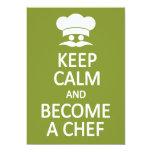 Keep Calm & Become a Chef custom invitation 13 Cm X 18 Cm Invitation Card