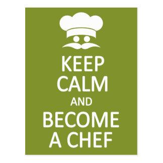 Keep Calm & Become a Chef custom postcard