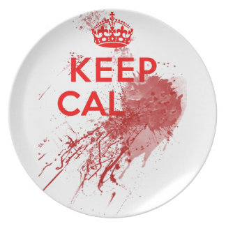 Keep Calm Bloody Zombie Dinner Plate