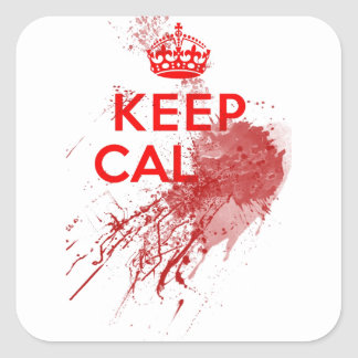 Keep Calm Bloody Zombie Square Sticker