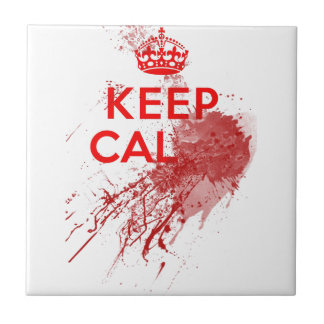 Keep Calm Bloody Zombie Small Square Tile