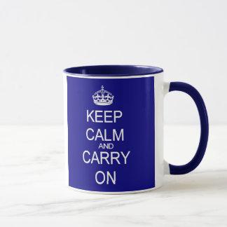 Keep Calm blue mug