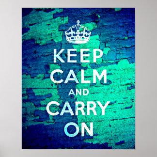 Keep Calm Blue Peeled Paint Grunge Posters