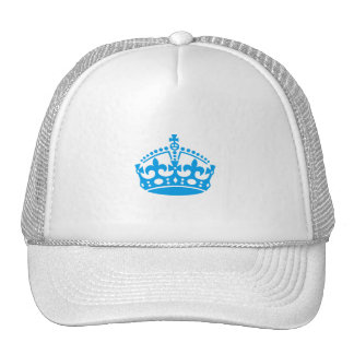 Keep calm blue victory crown trucker hat