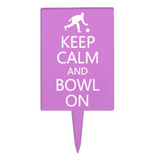 Keep Calm & Bowl On custom color cake topper
