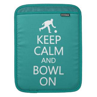 Keep Calm & Bowl On custom color iPad sleeve