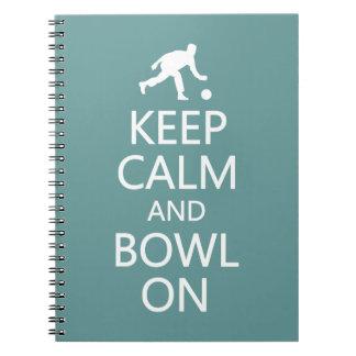 Keep Calm & Bowl On custom color notebook