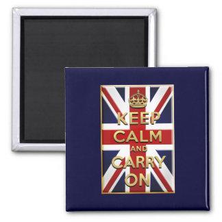 Keep Calm British flag 2 Inch Square Magnet