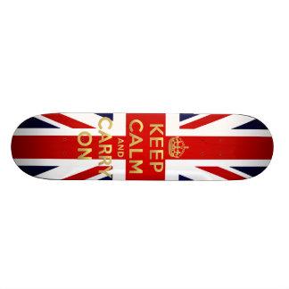 Keep Calm British Flag Union Jack GB Carry On Skateboard
