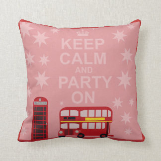Keep Calm British Party On Throw Pillow