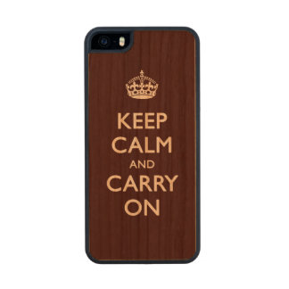 Keep calm brown carved® cherry iPhone 5 slim case