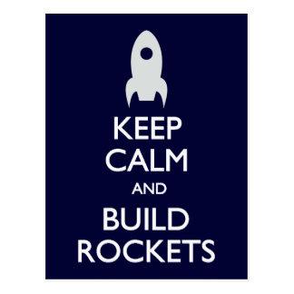 Keep Calm Build Rockets postcard