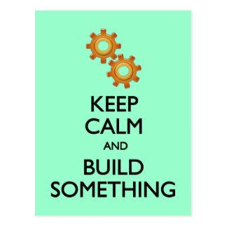 Keep Calm Build Something postcard