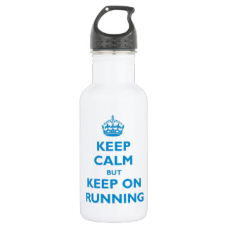 Keep Calm But Keep On Running (blue) Stainless Steel Water Bottle