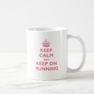 Keep Calm But Keep On Running (pink) Classic White Coffee Mug