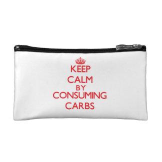Keep calm by consuming Carbs Makeup Bag