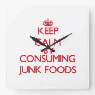 Keep calm by consuming Junk Foods Wall Clock