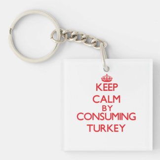 Keep calm by consuming Turkey Single-Sided Square Acrylic Keychain