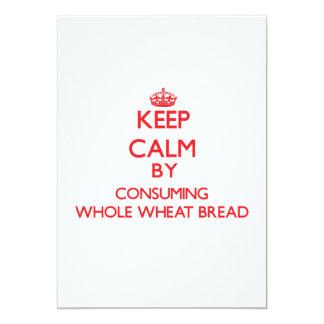 Keep calm by consuming Whole Wheat Bread Custom Invitation