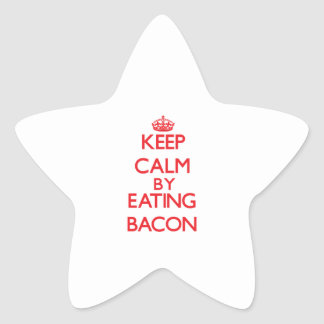 Keep calm by eating Bacon Star Stickers