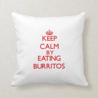 Keep calm by eating Burritos Throw Pillow
