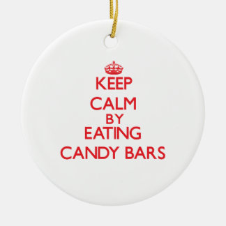 Keep calm by eating Candy Bars Christmas Ornament