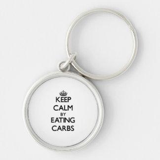 Keep calm by eating Carbs Keychain