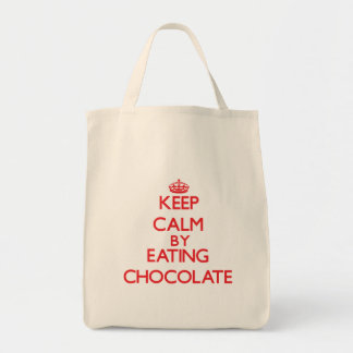 Keep calm by eating Chocolate Tote Bags