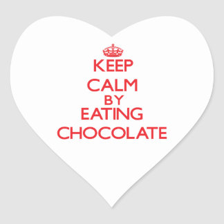 Keep calm by eating Chocolate Heart Sticker