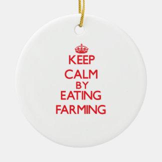 Keep calm by eating Farming Ornament