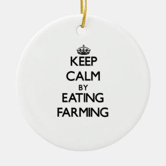 Keep calm by eating Farming Christmas Tree Ornament