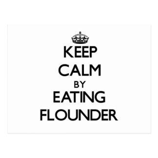 Keep calm by eating Flounder Post Card