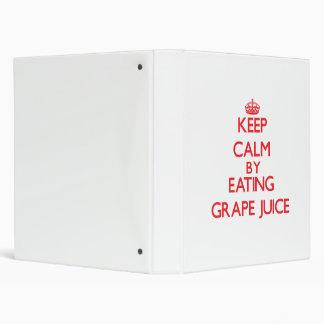 Keep calm by eating Grape Juice 3 Ring Binders